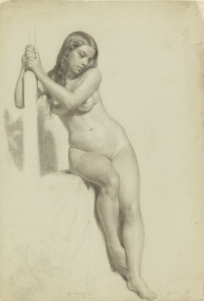 Daniel Huntington, 'Female Nude Perched on a Stool', 1858