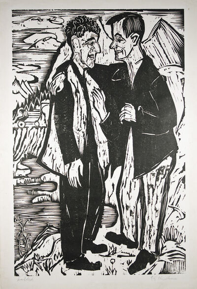 Ernst Ludwig Kirchner, 'Friends (Müller and Scherer)', 1924
