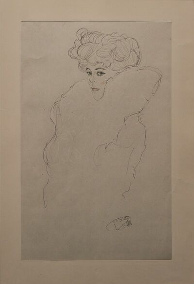 Gustav Klimt, 'Portrait Sketch: Lady with Boa (Red and White Tinted)', 1919