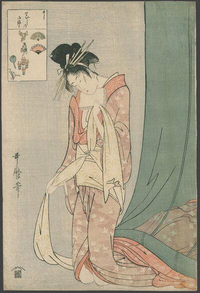 Kitagawa Utamaro, ' Hanaogi of the Ogi-ya Emerges from a Mosquito Net (Age 22 years)', 1795