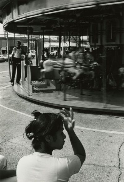 Louis Draper, 'Woman and Carousel, Coney Island', 1976