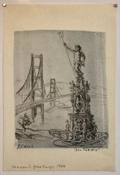 Gottfried Salzmann, 'San Tubisco (Season's Greetings) Holiday Drawing Artwork Poseidon Trident Bridge', 1970-1979