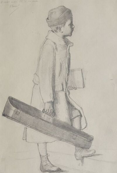 Attributed to Julie Manet, 'Portrait of a boy standing full-length holding a suitcase'