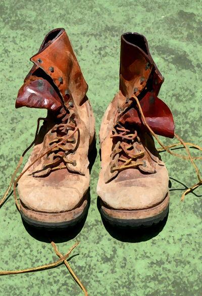 Larry Garmezy, 'Field Assistants - Old boots, fashion, mountains, field work, geology', ca. 2010