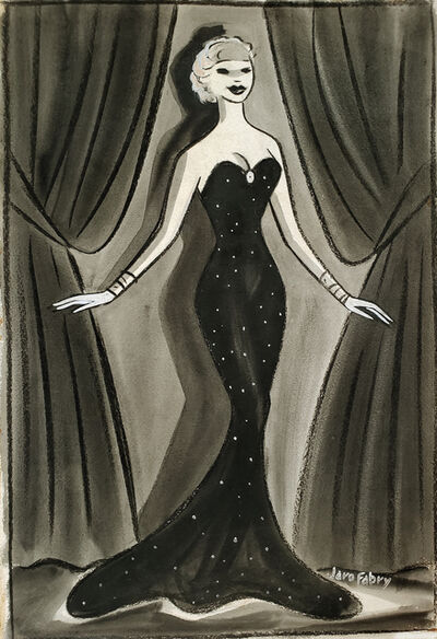 Jaro Fabry, 'Glamorous Female Performer on Stage in Elegant Black Evening Dress -Golden Age of Hollywood ', ca. 1935