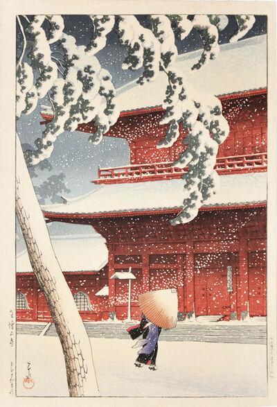 Kawase Hasui, 'Zojo Temple in Snow at Shiba', 1925