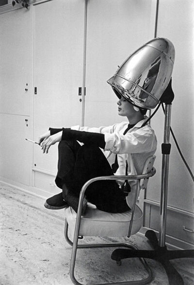 Mark Shaw, 'Audrey Hepburn Under The Dryer Holding Cigarette'