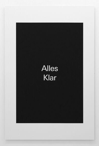 Alex Clarke, 'Alles Klar', 2018