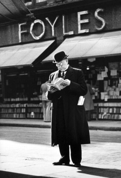 Wolfgang Suschitzky, 'London Charing Cross Road, [Man reading at Foyles]', 1936