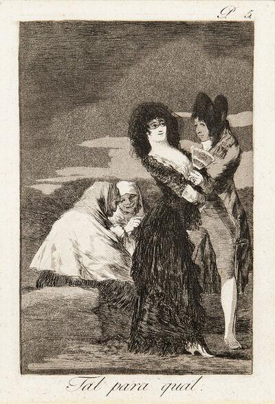 Francisco de Goya, 'Tal para qual, from Los Caprichos', 1799