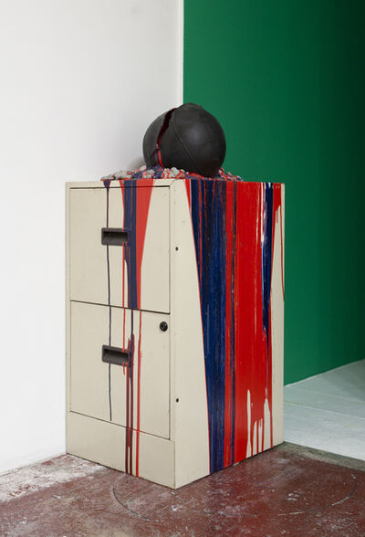 Bhakti Baxter, 'Imploded Ball Barf (file cabinet, red white and blue)', 2011