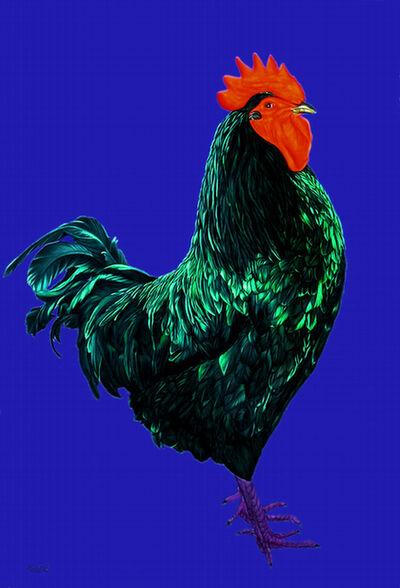 Helmut Koller, 'Rooster on Dark Blue Background', 2004