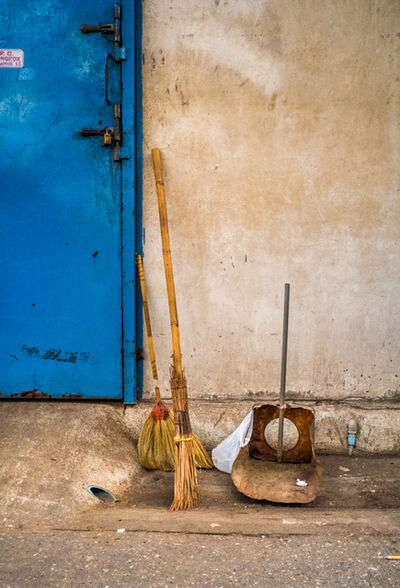 F. Emmanuel Bastien, 'Broom, Dust Pan, Blue Door, Bangkok'