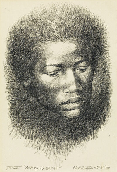 Charles White, 'Young Woman (Head).', 1967