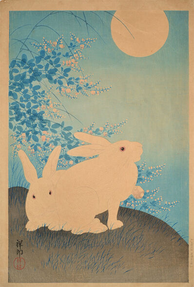 shoson, 'Two Rabbits and Full Moon', ca. 1930