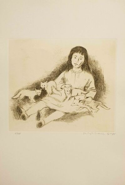 Raphael Soyer, 'Girl with Foxes', ca. 1969