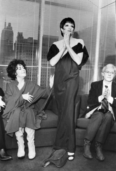 Bill Cunningham, 'Elizabeth Taylor, Liza Minelli (in Halston) and Andy Warhol', 1979