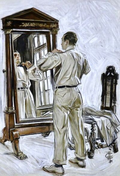 Joseph Christian Leyendecker, 'Man Dressing in Mirror', 20th Century