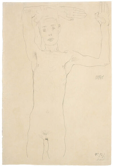 Egon Schiele, 'Standing Male Nude with Raised Arms (Self-Portrait)', 1911
