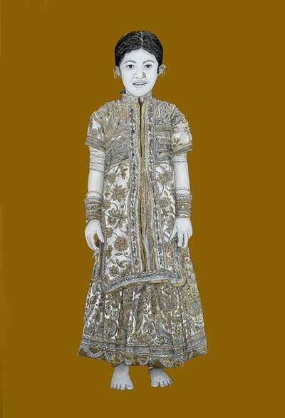"""Kapil Anant, 'Rajsthani Rural Girl, Acrylic, Ink & Gold Foil on Canson Paper by Contemporary Artist """"In Stock""""', 2021"""