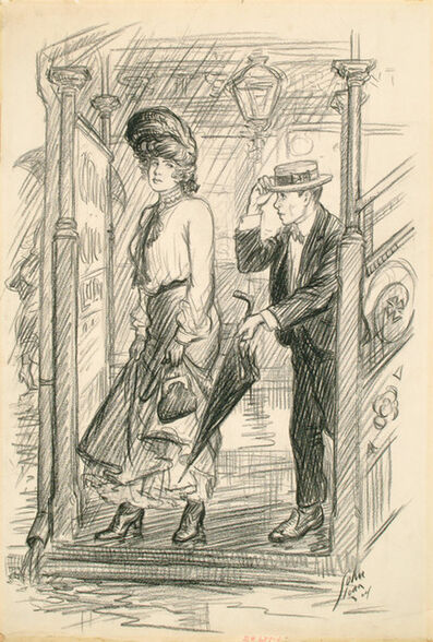"John Sloan, 'Don't you want—th'umbrella?, 1904, for ""The Steady,"" by Harvey J. O'Higgins,  in McClure's Magazine', August 25-1905"