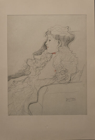 Gustav Klimt, 'Portrait Sketch: Lady with Ruff (Red and White Tinted)', 1919