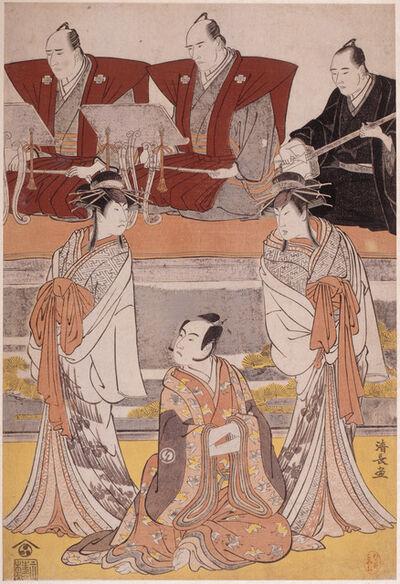 "Torii Kiyonaga, 'Kabuki play ""Sono Omokage Matsu ni Sakura"" with Sawamura Sôjurô III in the role of Soga no Juro, Ichikawa Monnosuke II embodies the ghost of Seigen, Segawa Kikunojô III in the role of Tora, accompanied by narrators and a shamisen player ', 1783"