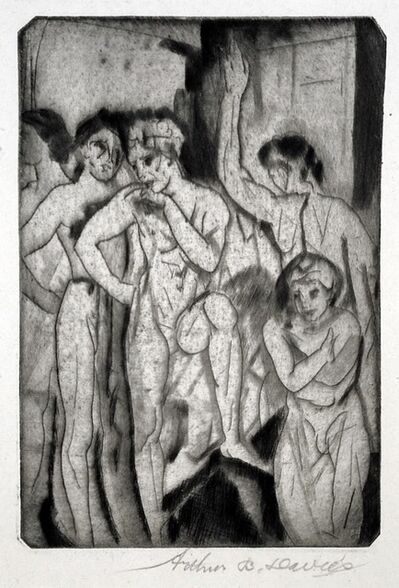 Arthur Bowen Davies, 'Baptism (or, Group of Ten Men, One Seated)', 1917