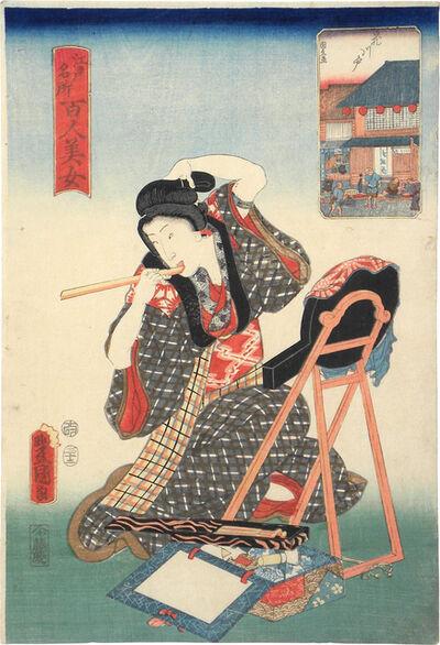 Utagawa Toyokuni III (Utagawa Kunisada), 'One Hundred Beauties from Famous Places in Edo: Hanakawado', 1857