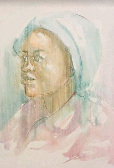 Durant Sihlali, 'Woman in blue headscarf', 1974