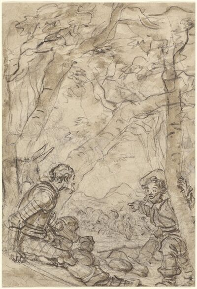 Jean-Honoré Fragonard, 'Don Quixote and Sancho Panza Witness the Attack on Rocinante', 1780s