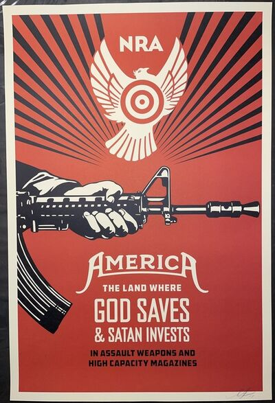 Shepard Fairey, 'Shepard Fairey Signed Print 2013 God Saves & Satan Invests Street Art Contemporary ', 2013