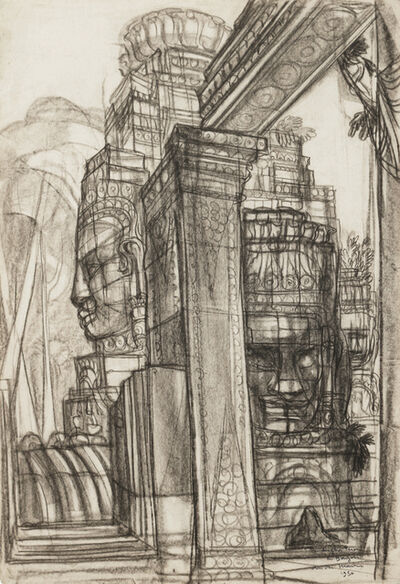 André Maire, 'Angkor, terrasse of Bayon', 1950