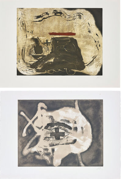 Antoni Tapies, 'Pied et trait rouge (Foot and Red Line); and Relief Sable', 1982