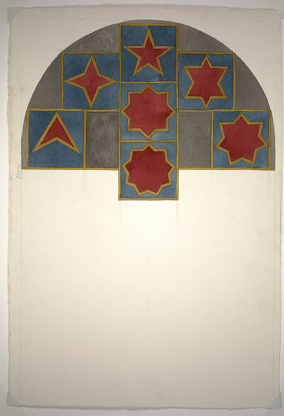 "Sol LeWitt, 'Study for ""Stars with three-, four-, five-, six-, seven-, eight- and nine points, drawn with a four and one-half-inch wide band of yellow ink wash.', 1984"
