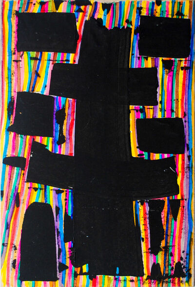 Dusti Bongé, 'Untitled (Black Square Forms on Multicolor Striped Ground)', 1974