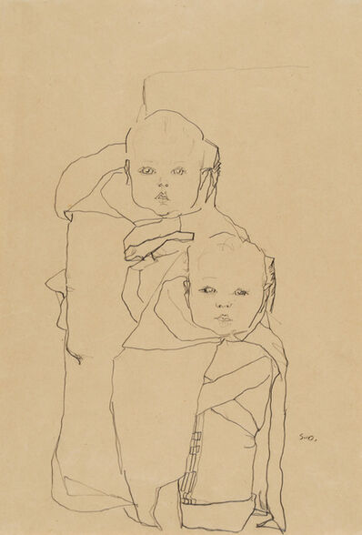 Egon Schiele, 'Two Infants (Twins)', 1910