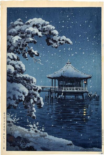 Tsuchiya Koitsu, 'Snow at the Ukimido, Katada',  1934