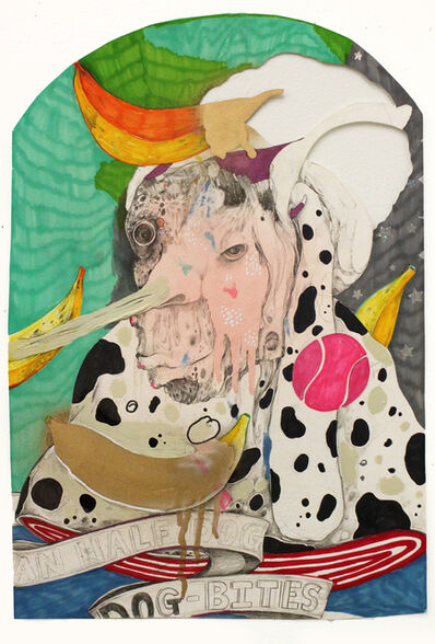 Lavar Munroe, 'Self Portrait with Blisters, Empty Head, Long Nose, Bananas, and a Pink Tennis Ball', 2015