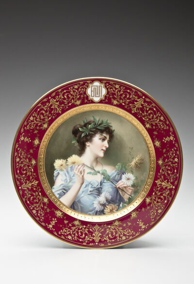 Bruno Geyer, 'Cabinet plate with dark-haired beauty; for Ceramic Art Company, Trenton', 1904