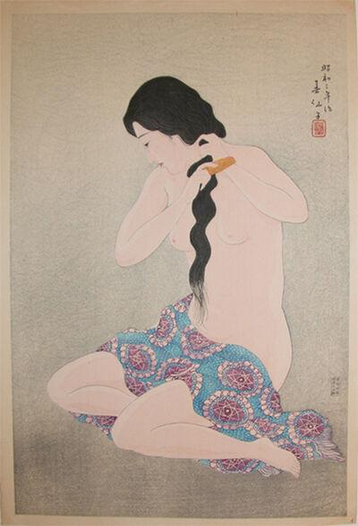Natori Shunsen, 'Combing Her Hair', 1928