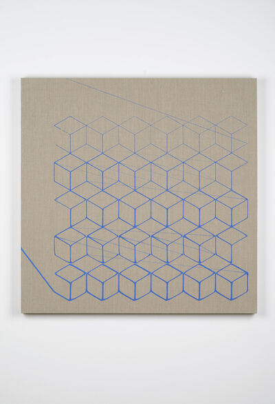 Analía Saban, 'One-Stroke Representation of an Isometric Grid (Blue)', 2015