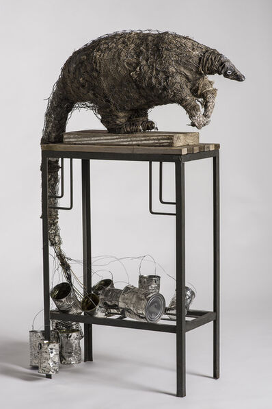 Elizabeth Jordan, 'Anteater sculpture on high platform with tin cans: 'A Grim Fairy Tale'', 2016