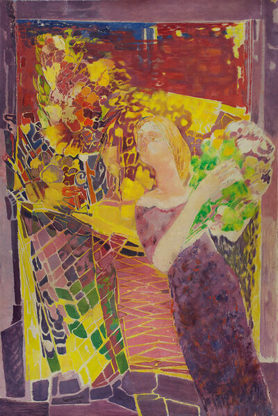 Sakti Burman, 'Lady with Flowers', 1963