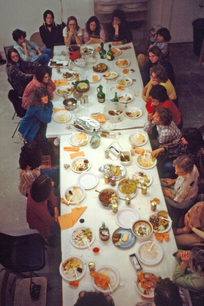 "Judy Chicago, 'Thursday Night Potluck with ""The Dinner Party"" Workers', 1978"