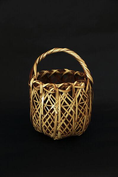 Matsumoto Hafū, 'White bamboo weaved flower basket', 2017