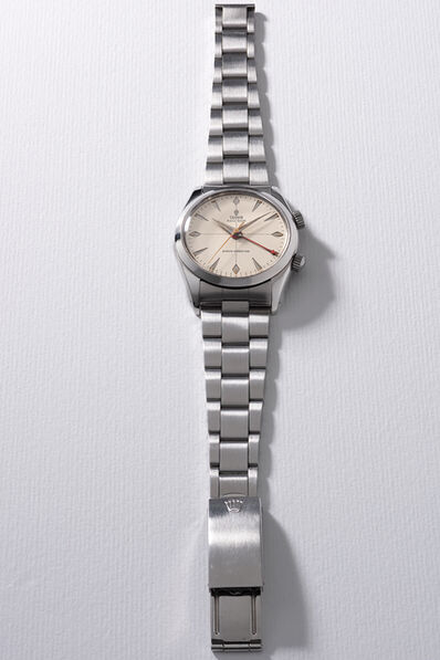 Tudor, 'A fine and rare stainless steel wristwatch with sweep center seconds, alarm and bracelet', Circa 1958