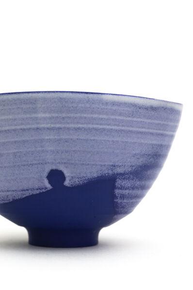 AKIO NIISATO, 'Blue tea bowl with white glaze', 2018