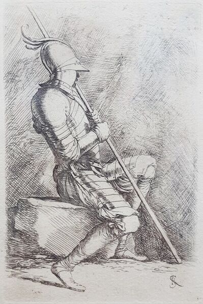 Salvator Rosa, 'Seated Soldier', ca. 1730