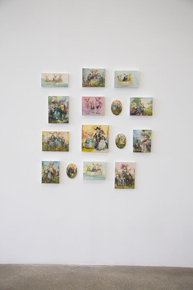 Susan Siegel, 'Installation of 15 Works: Lifeboat (Yellow Feather); Lifeboat with Hares; Lifeboat with Hares (Pink); Hare Family with Dog; Hare Family (Pink); Hares (Yellow); Hare Couple; Arcadia 1; Arcadia 2; Arcadia 3; Pink Pigs; Ovine Family; Floralia; Picnic; Highland Cow and Goat', 2015